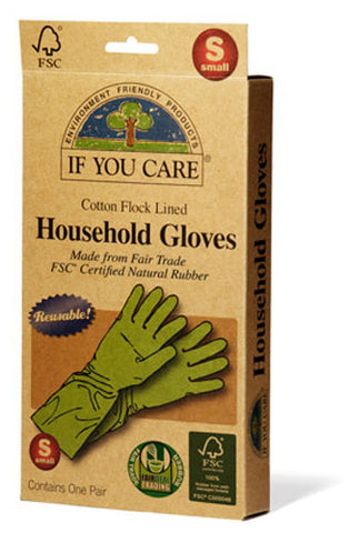 If You Care - Household Gloves Latex Cotton Flock Lined Small