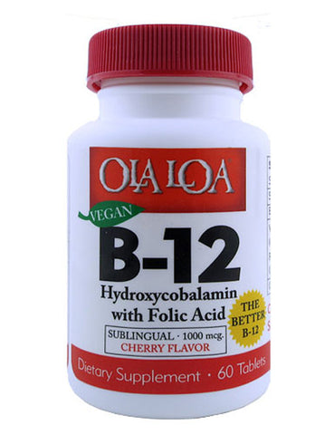 Ola Loa -  Vegan B-12 Hydroxycobalamin with Folic Acid Sublingual Cherry - 60 Tablets
