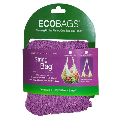 ECO-BAGS - Natural Cotton String Bag Long Handle Raspberry