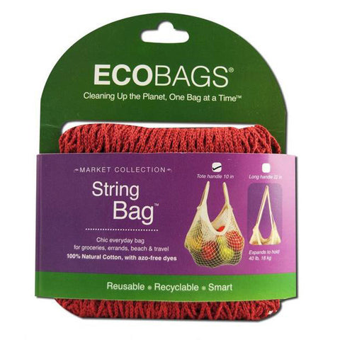 ECO-BAGS - Natural Cotton String Bag Tote Handle Chili