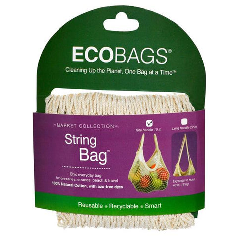 ECO-BAGS - Natural Cotton String Bag Tote Handle Natural