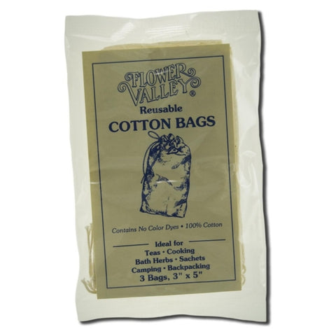 "FLOWER VALLEY - Reusable Cotton Teabags - 3 Bags (3"" x 5"" Each)"