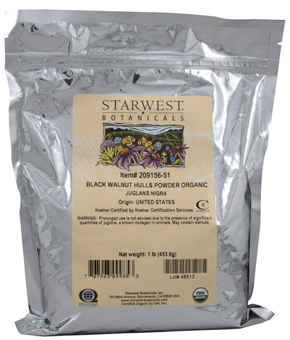 STARWEST BOTANICALS - Organic Black Walnut Hulls Powder - 1 Lbs. (453.6 g)