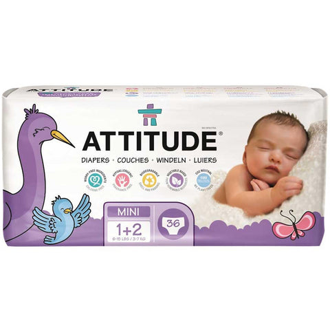 ATTITUDE - Eco-Friendly Baby Diapers Size 1-2 (6-15 LBS)