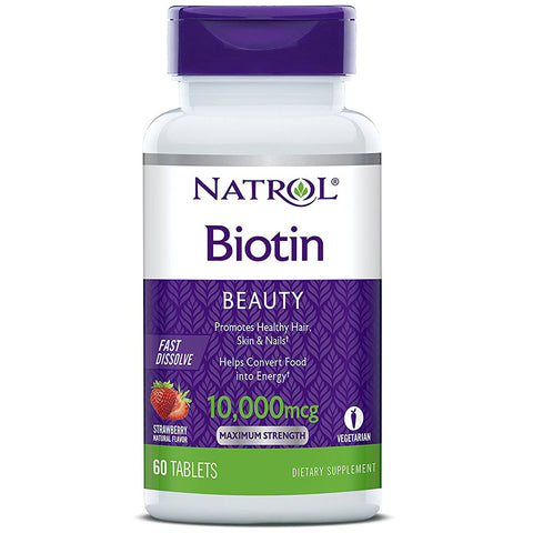 NATROL - Biotin 10000 mcg Fast Dissolve Natural Strawberry