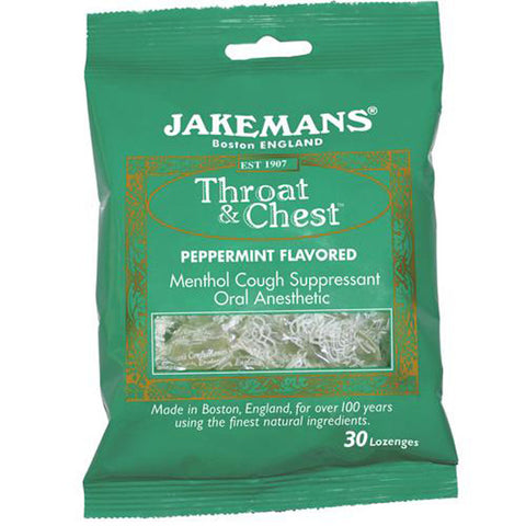JAKEMANS Peppermint Flavored Throat and Chest Lozenge