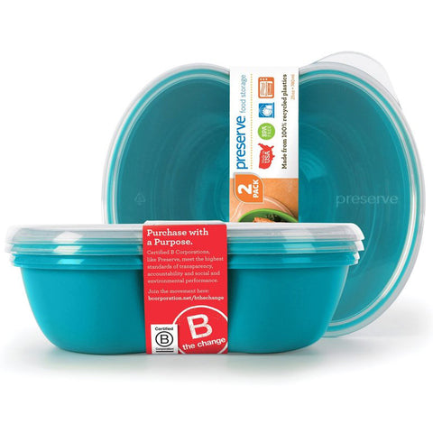 PRESERVE - Square Food Storage Container 25-Ounce Aqua Blue