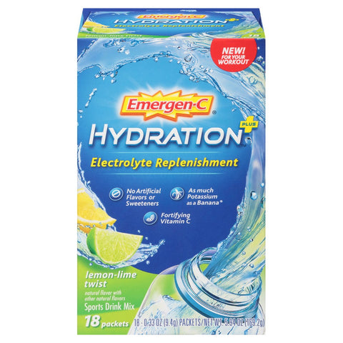 EMERGEN-C - Hydration Plus Electrolyte Replenishment Sports Drink Mix with Vitamin C, Lemon Lime Twist