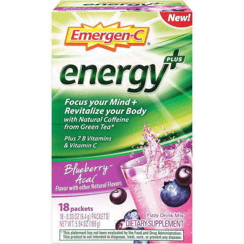 EMERGEN-C - Energy+ Drink Mix with Caffeine Blueberry-Acai Flavor
