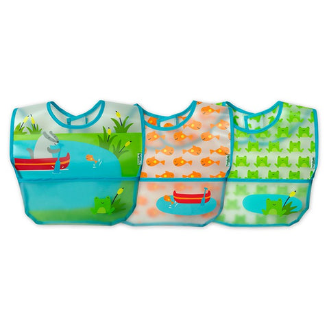 GREEN SPROUTS - Wipe-Off Bib, Aqua Pond Set