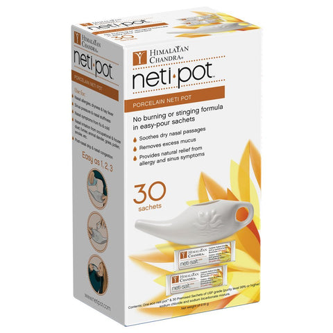 HIMALAYAN - Porcelain Neti Pot with 30 Neti Salt Sachets