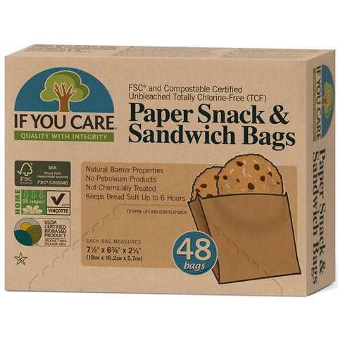 IF YOU CARE - Unbleached Paper Sandwich and Snack Bags
