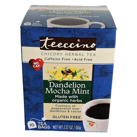 TEECCINO - Organic Dandelion Mocha Mint Herbal Tea Bags
