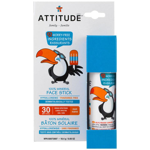 ATTITUDE - 100% Mineral Face Stick SFP 30 Fragrance Free