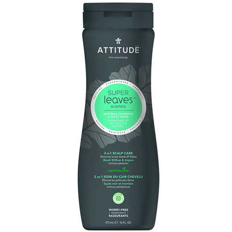 ATTITUDE - Natural Shampoo & Body Wash 2-in-1 Scalp Care Men Black Willow & Aspen