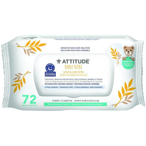 ATTITUDE - Natural Baby Wipes Fragrance Free