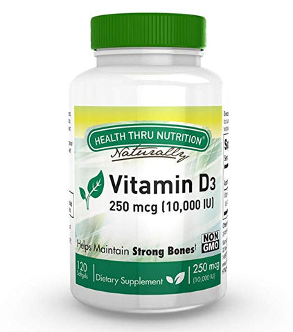HEALTH THRU NUTRITION - Vitamin D3 250mcg 10,000 IU