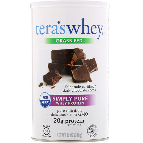 TERA'S WHEY - Simply Pure Whey Protein Fair Trade Certified Dark Chocolate Cocoa