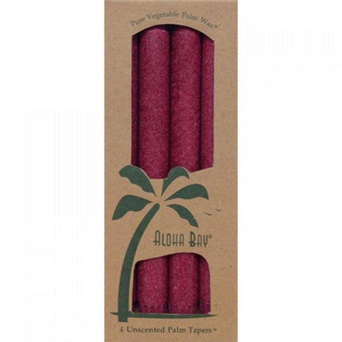 ALOHA BAY - Candle 9 Inch Palm Tapers Burgundy