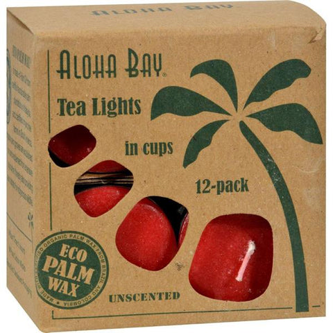 ALOHA BAY - Palm Wax Unscented Tea Lights Red