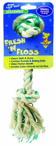 Fresh-N-Floss 2 Knot Bone Spearmint Small Dog Toy
