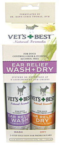 Ear Relief Wash & Dry for Dogs 2 x 4 oz Btls