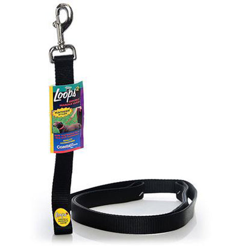 Nylon Loops Double Handle Dog Lead Black 4 Feet