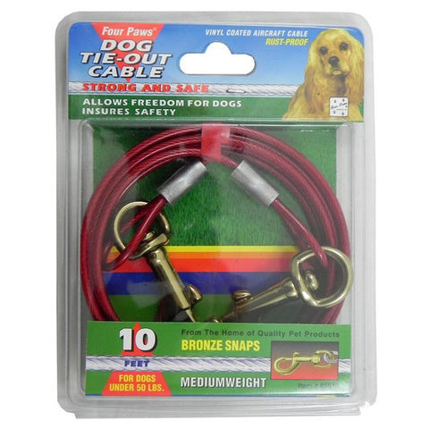 FOUR PAWS - Medium Weight Tie Out Cable Red