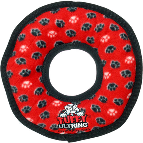 TUFFY - Ultimate Ring in Red Paws Dog Toy