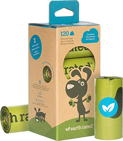 EARTH RATED - Dog Poop Bags Refill Pack Unscented 8 Rolls