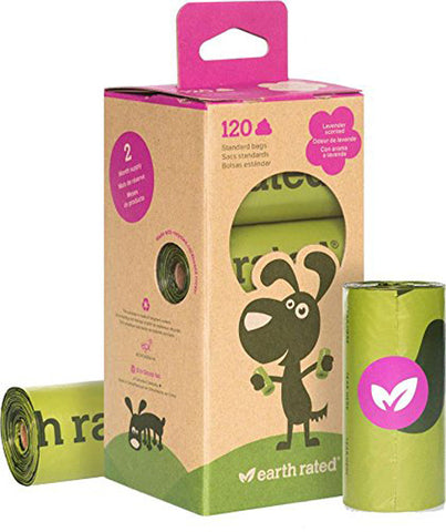 EARTH RATED - Dog Poop Bags Refill Pack Lavender-Scented 8 Rolls