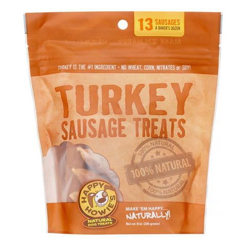 HAPPY HOWIE'S - 4 In. Turkey Sausage Dog Treats Bakers Dozen (13 Count)