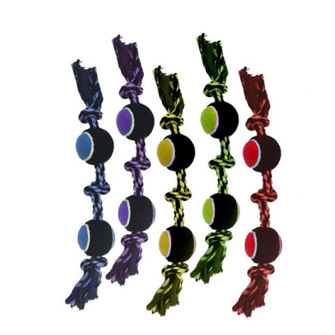 MULTIPET - Nuts for Knots 3-Knot Rope with 2 Tennis Balls Dog Toy