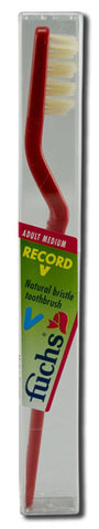 Fuchs Brushes Record V Natural Bristles Adult Medium Toothbrush