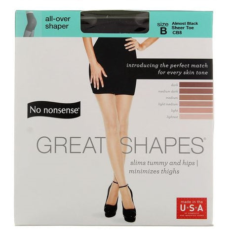 NO NONSENSE - Great Shapes Body Shaping Pantyhose Almost Black Sheer Toe Size B