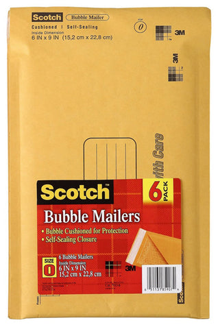 SCOTCH - Bubble Mailer, 6 in x 9 in, Size #0