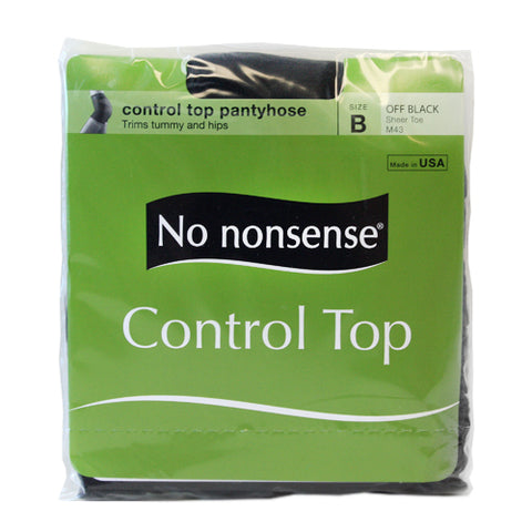 NO NONSENSE - Women's Control Top with Sheer Toe Pantyhose Size B Off Black