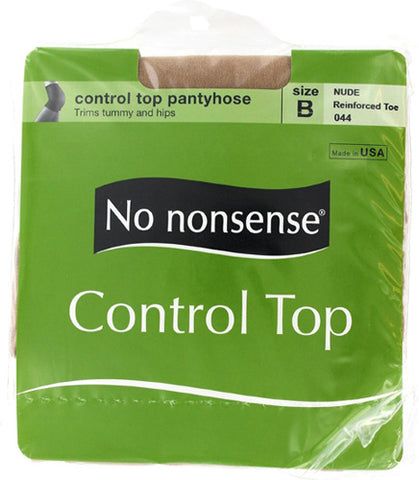 NO NONSENSE - Women's Control Top Reinforced Toe Pantyhose Size B Nude