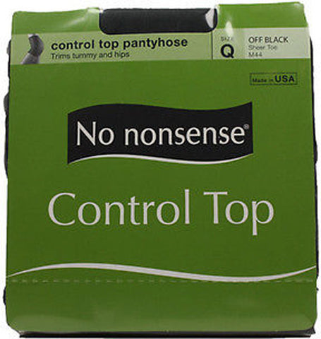 NO NONSENSE - Women's Control Top with Sheer Toe Pantyhose Size Q Off Black