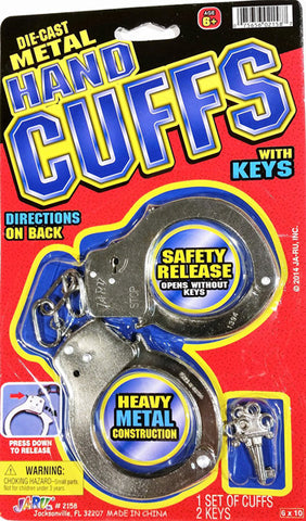 "JA-RU - Die-Cast Metal Hand Cuffs with Keys 6"" x 10"""
