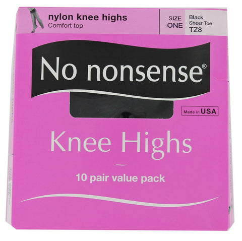 NO NONSENSE - Knee Highs Nylon Sheer Toe Size One Black
