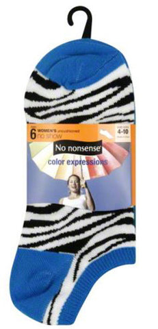 NO NONSENSE - Socks No Show Color Zebra/ Neon Solid