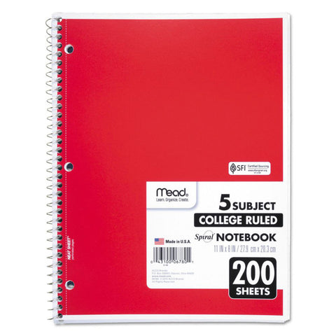 "MEAD - College Ruled 5 Subject Spiral Notebook 8-1/2"" x 11"" White"