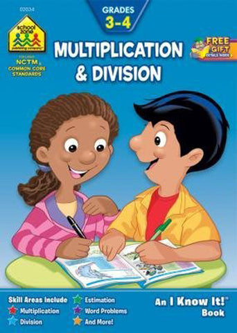 SCHOOL ZONE - Multiplication & Division 3-4 Workbook