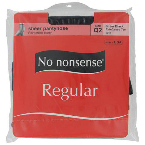 NO NONSENSE - Regular Pantyhose Reinforced Toe Black Size Q2