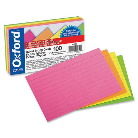 OXFORD - Ruled Index Cards 3 x 5 Glow Green/Yellow, Orange/Pink