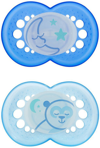 MAM USA  - Orthodontic Silicone Pacifiers Night 6+ Months