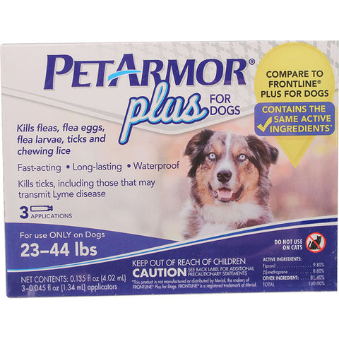 PETARMOR - Plus for Dogs Flea and Tick Squeeze-On 23-44 Lbs.