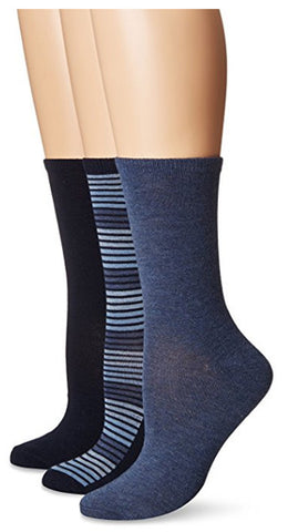 NO NONSENSE - Women's Striped Flat Knit Crew Sock
