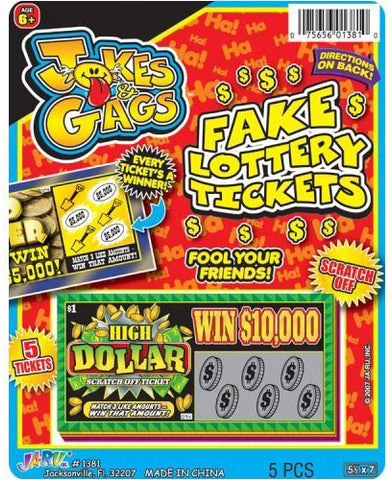 JA-RU - Jokes and Gags Fake Lottery Tickets